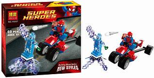 Конструктор Bela 10237 Super Heroes (Супер Герои) Спайдер-Трайк против Электро, 69 дет