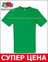 Мужская Футболка с V-Образным Вырезом Fruit of the loom Ярко-зелёный 61-066-47 M