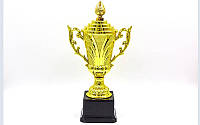 Кубок спортивный с ручками и крышкой OMEGA C-679B (пластик, h-30м, d чаши-14см, золото)