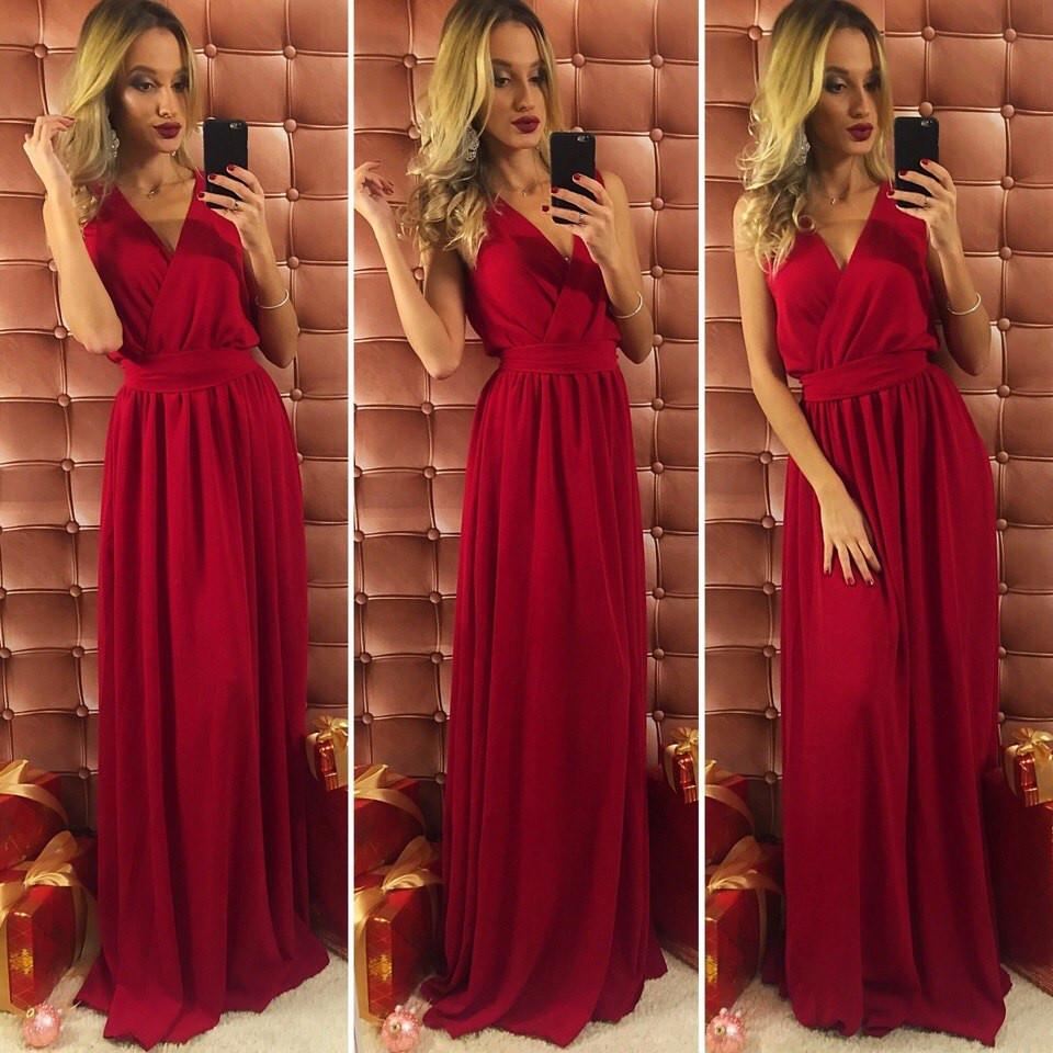 Бордовое шифоновые платья