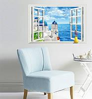 3D Интерьерная наклейка на стену Окно на море