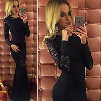 Красивое черное  длинное трикотажное платье со вставками гипюра. Арт-9734/12