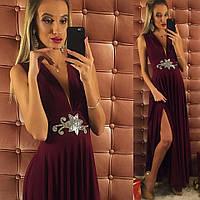 Бордовое платье в пол с украшением из страз.  Арт-9735/12