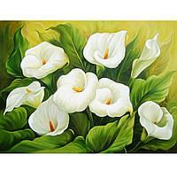 """Картина для рисования камнями Diamond painting Алмазная вышивка """"Белые лилии"""" полная выкладка"""