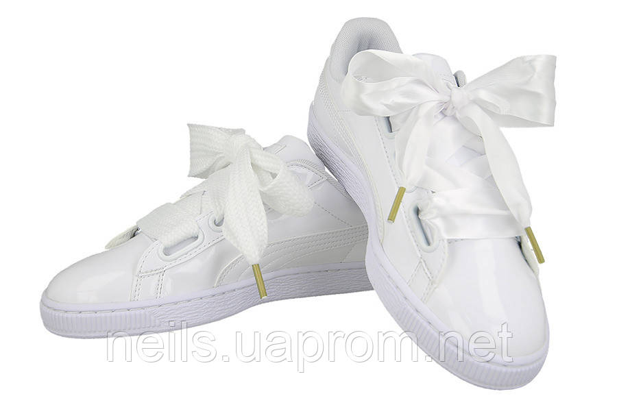 Женские кроссовки Puma Basket Heart Patent White  продажа aa946ba8ddfd4