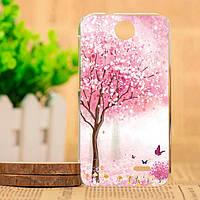 Чехол для HTC Desire 310 с рисунком розовое дерево