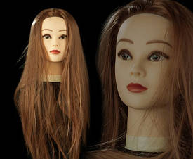 Учебная голова манекен для плетения 30% натуральных волос, длина 65 см, цвет шатен.