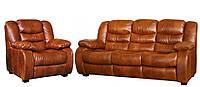 """Кожаный раскладной диван и кресло """"Ashley"""" (Эшли), коричневый"""