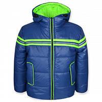 Детская демисезонная куртка для мальчика СПАРТА серо-синяя, р.98