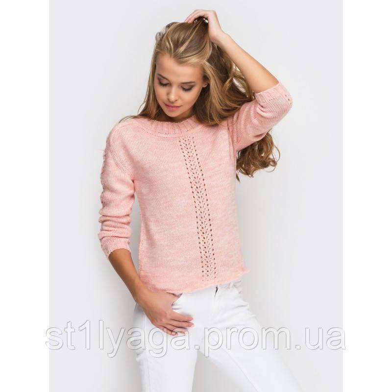 46-48 Нарядный свитер вязаный в персиковом цвете