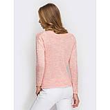 46-48 Нарядный свитер вязаный в персиковом цвете, фото 3