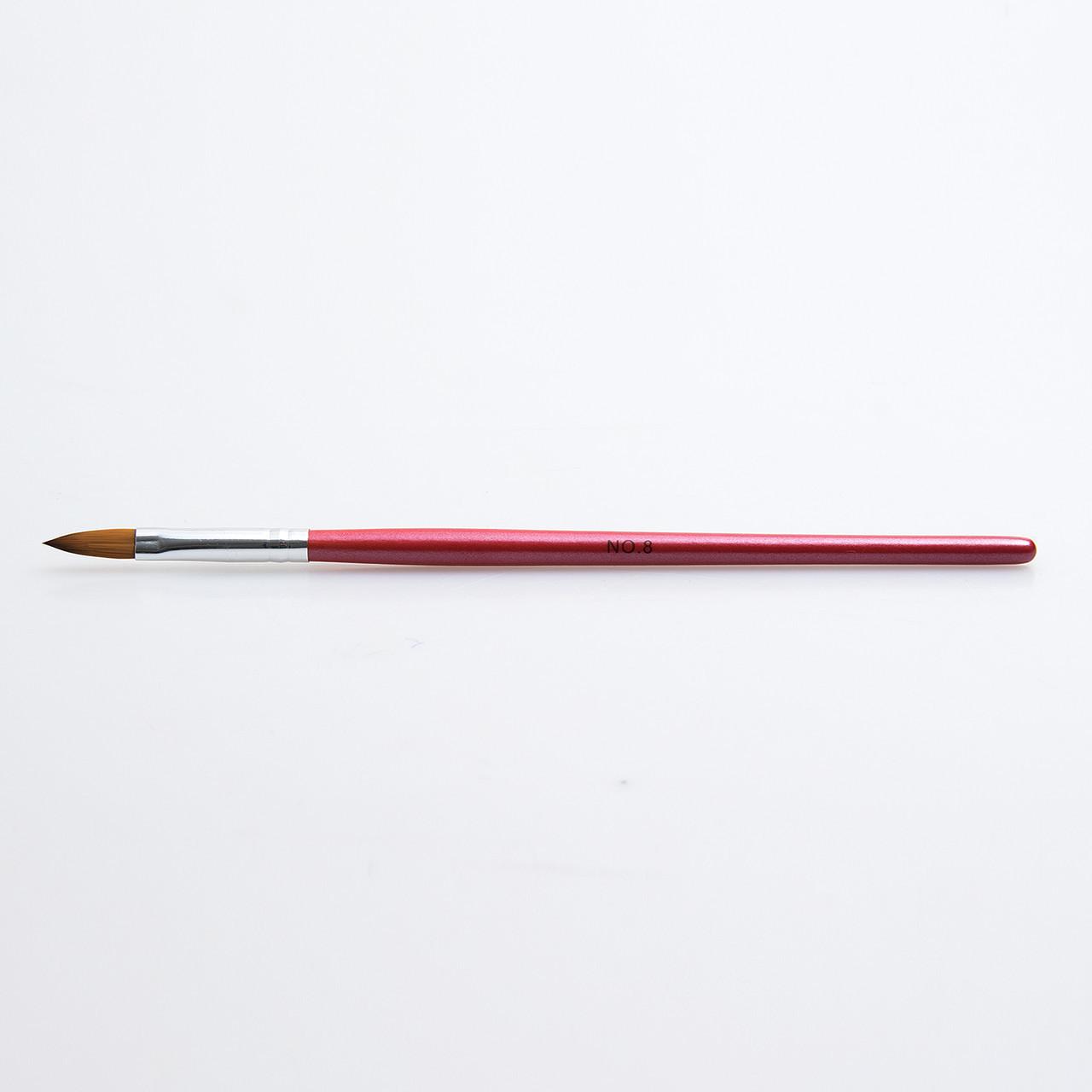 Кисть для акрила №8, красная ручка