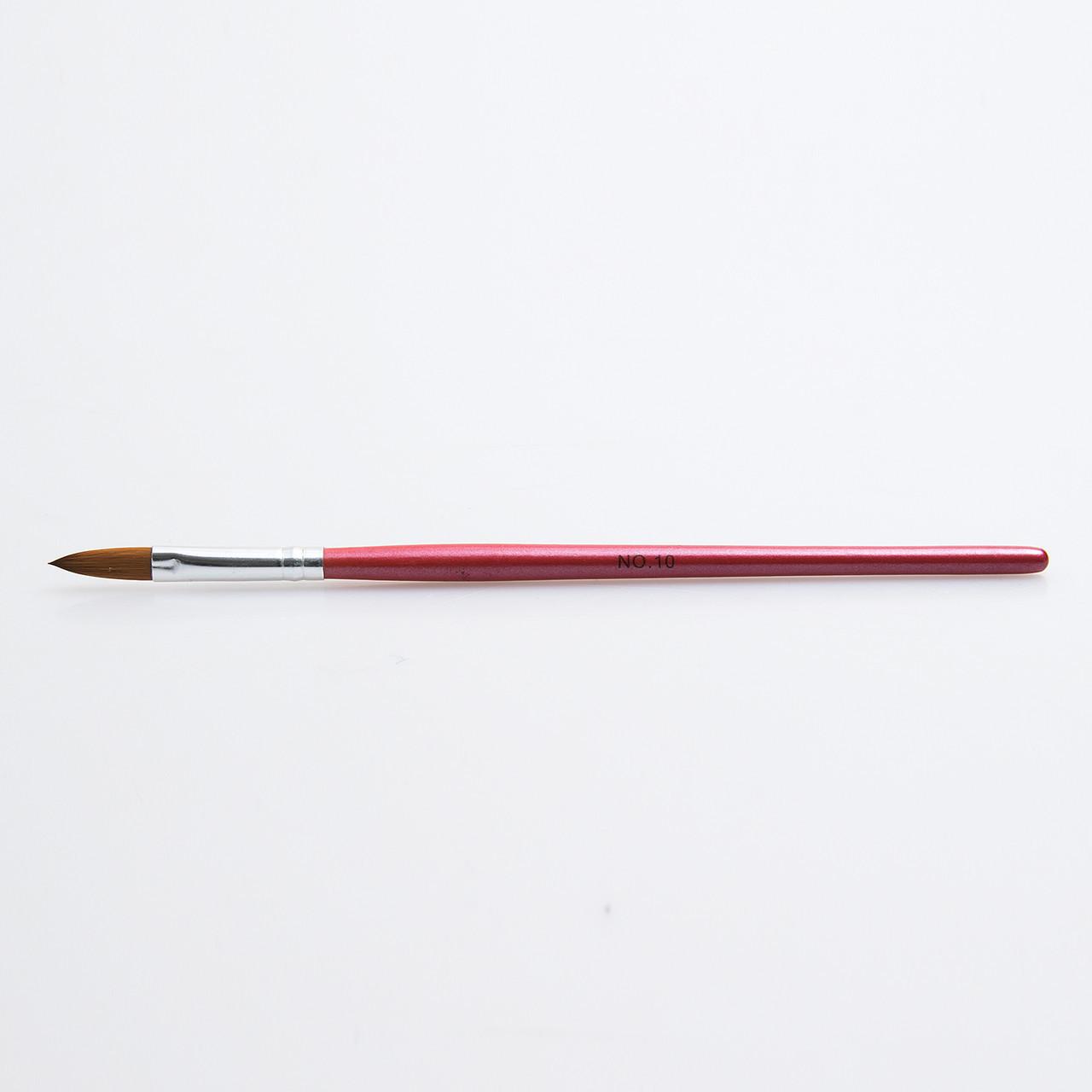 Кисть для акрила №10, красная ручка