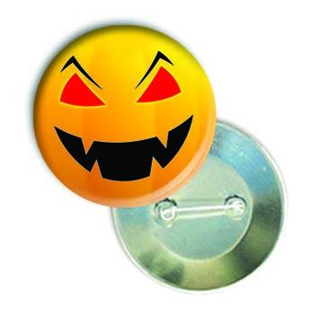 """Закатной круглый значок - смайл """"Коварный Хеллоуин"""""""