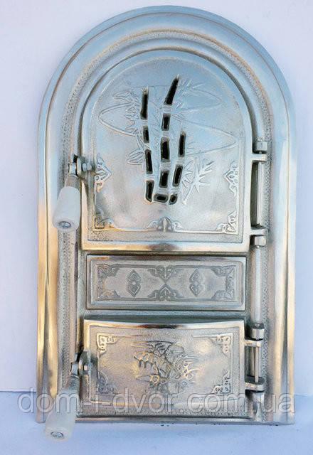 """Дверцы для печки"""" Бамбуковая трость"""" со стеклом,чугунная  дверца"""