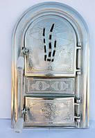 """Дверцы для печки"""" Бамбуковая трость"""" со стеклом,чугунная  дверца, фото 1"""