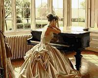 Раскраска по цифрам Mariposa Девушка у рояля худ Роб Хэфферан (MR-Q1270) 40 х 50 см