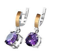 """Срібні сережки """"Аврора"""" -  срібло 925 проби з золотими вставками, серебряные сережки с золотом"""