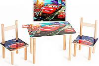 Набор деревянный стол 2 стульчика Тачки