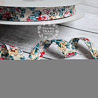 Косая бейка из хлопка с разноцветными цветочками (15 мм ширина).