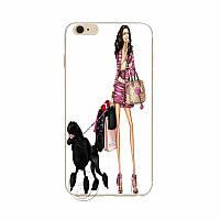 """Чехол пластиковый на  iPhone 6 6S  """" Стильная Lady с черным пуделем"""""""