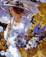 Рисование по номерам Турбо Девушка в саду хризантем Худ Алексей Лашкевич (VP635) 40 х 50 см