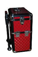Большой тревел-чемодан для косметики на колесах с ручкой (красный с черным)