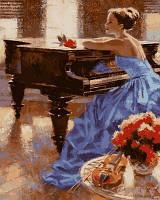 Картина для рисования Турбо Незнакомка у рояля Худ Алексей Лашкевич (VP675) 40 х 50 см