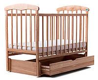 Детская кроватка Наталка с маятником и ящиком (ясень) светлая