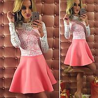 Красивое платье с розовой  юбкой и белым гипюровым верхом. Арт-9741/12