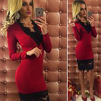 Стильное бордовое трикотажное платье с турецким гипюром. Арт-9742/12