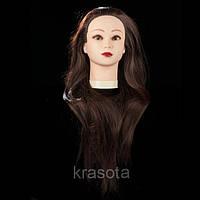 Учебная голова манекен 30% натуральных волос,длина 65 см, цвет темно коричневый