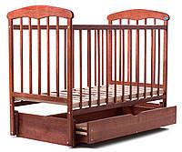 Детская кроватка Наталка с маятником и ящиком (ясень) темная