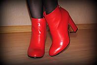 """Ботильоны """"КАМИЛА"""" кожаные красного цвета на устойчивом каблуке код 1838"""