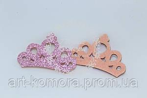 Корона с фому в глиттер, розовая, 45 х 30 мм