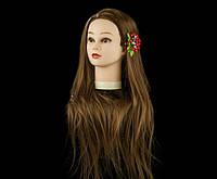 Учебный манекен для парикмахера 30% натуральных волос, золотистый