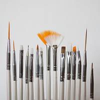 Набор кистей 15 шт белые для  росписи рисования дизайна френча наращивания гелем, фото 1