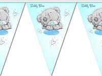 Гирлянда-вымпел бумажная на день рождения Мишка Тедди