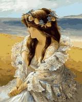 Картина по номерам VP677 Девушка в венке из ракушек Худ Алексей Лашкевич (40 х 50 см) Турбо