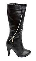 Женские классические кожаные зимние сапоги, на высоком каблуке. 38,39,40 размера