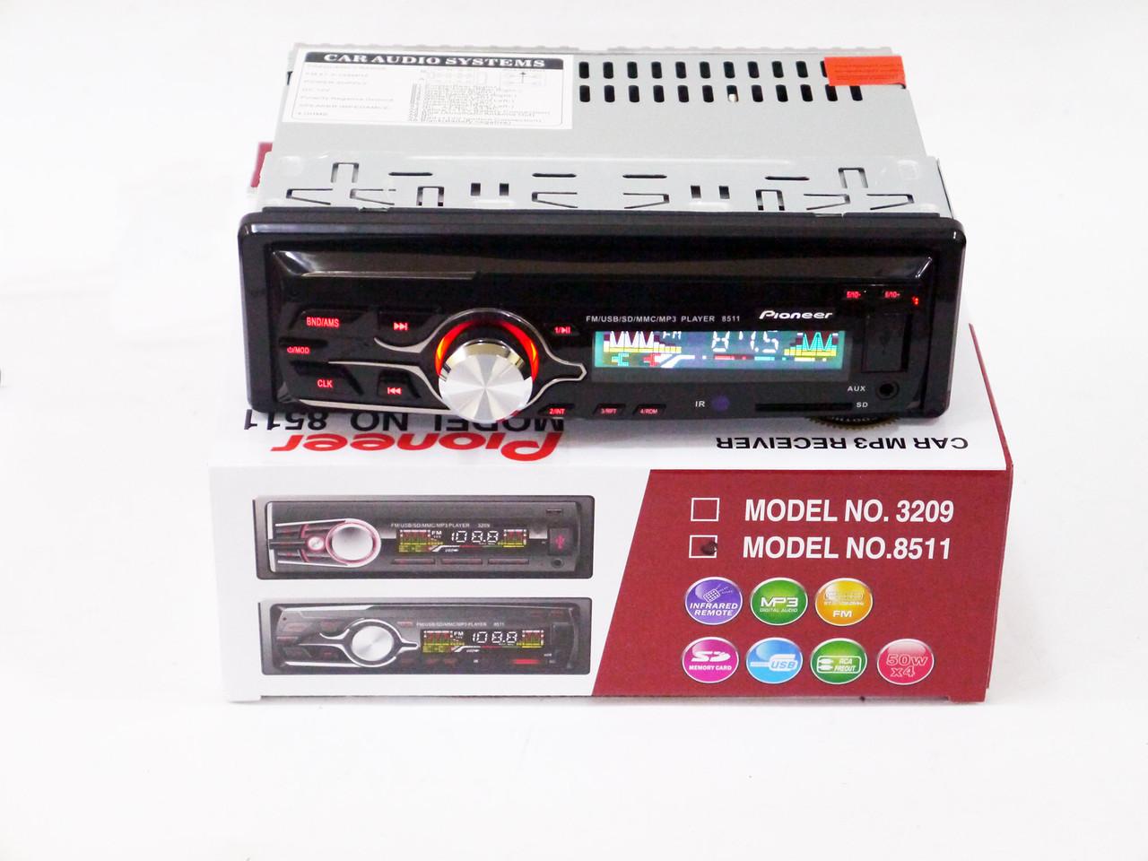 Автомагнитола Pioneer 8511 Usb+RGB подсветка+Sd+Fm+Aux+ пульт (4x50W)