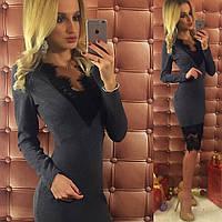 Стильное серое трикотажное платье с турецким гипюром. Арт-9742/12