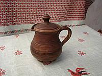 Глиняный сливочник с кришкой 0,6л ручной работы