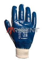 Перчатки защитные нитрильные с двухслойным покрытием и вязаной манжетой TRIDENT 6017