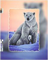 """Схема для вышивки бисером """"Полярные медведи"""", на холсте А3"""
