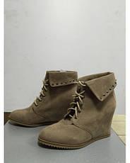 Ботинки женские демисезонные песочного цвета скрытая платформа на шнурках Pull @Bear, фото 3