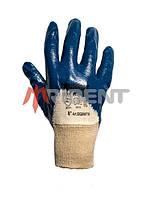 Перчатки защитные нитрильные с однослойным неполным  покрытием и вязаной манжетой TRIDENT 6007