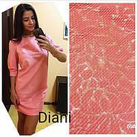 Платье-баллон мини жаккард 3 цвета SMdi1125