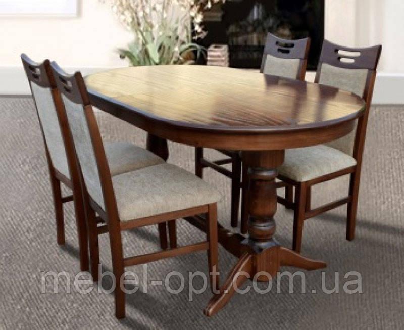 Деревянный обеденный стол Отаман, цвет орех, 1,2 метра