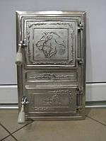 Дверцы чугунные для печи Левенок хром квадратные.Печные дверки